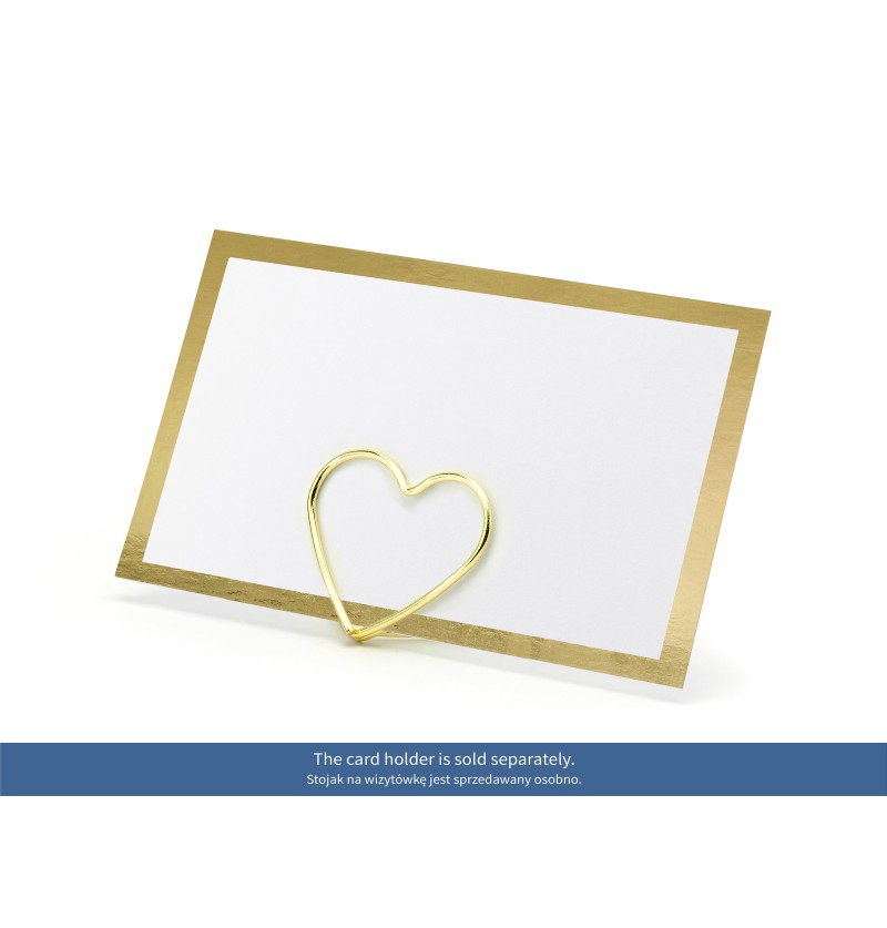 Set de 10 tarjetas para mesa blancas con borde dorado de papel