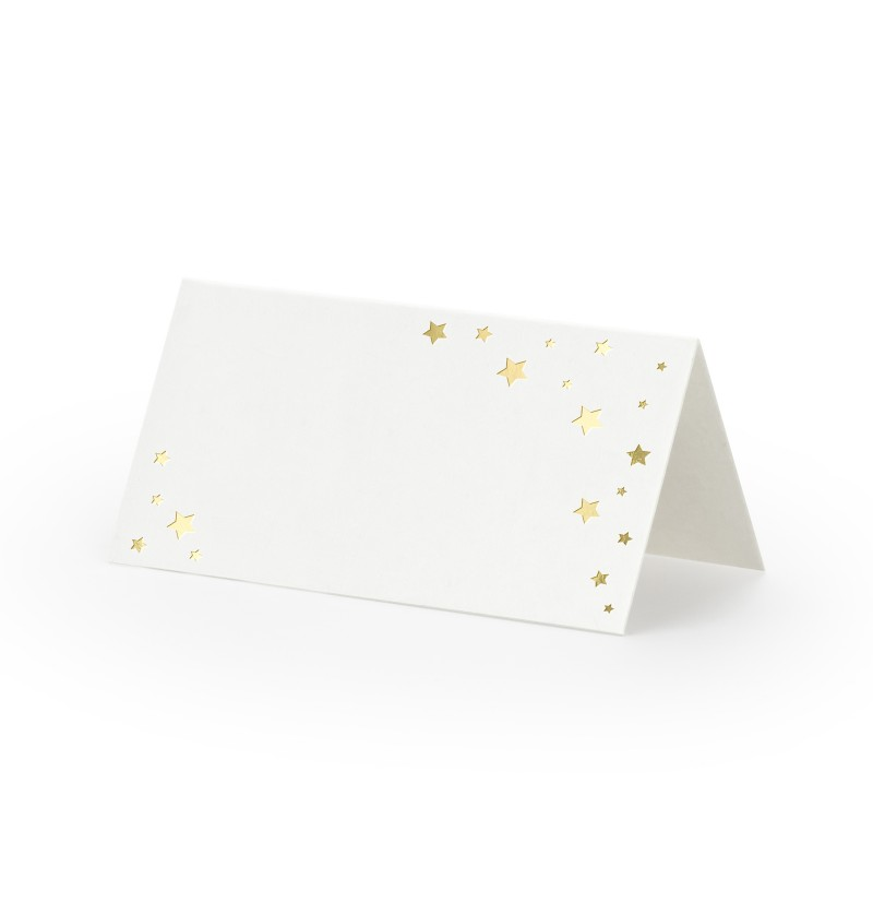 Set de 10 tarjetas para mesa blancas con estrella doradas de papel