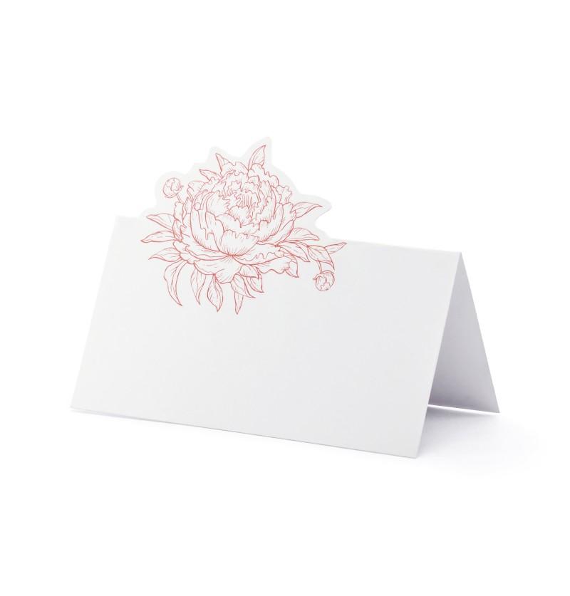Set de 10 tarjetas para mesa blancas con peonia rosa de papel
