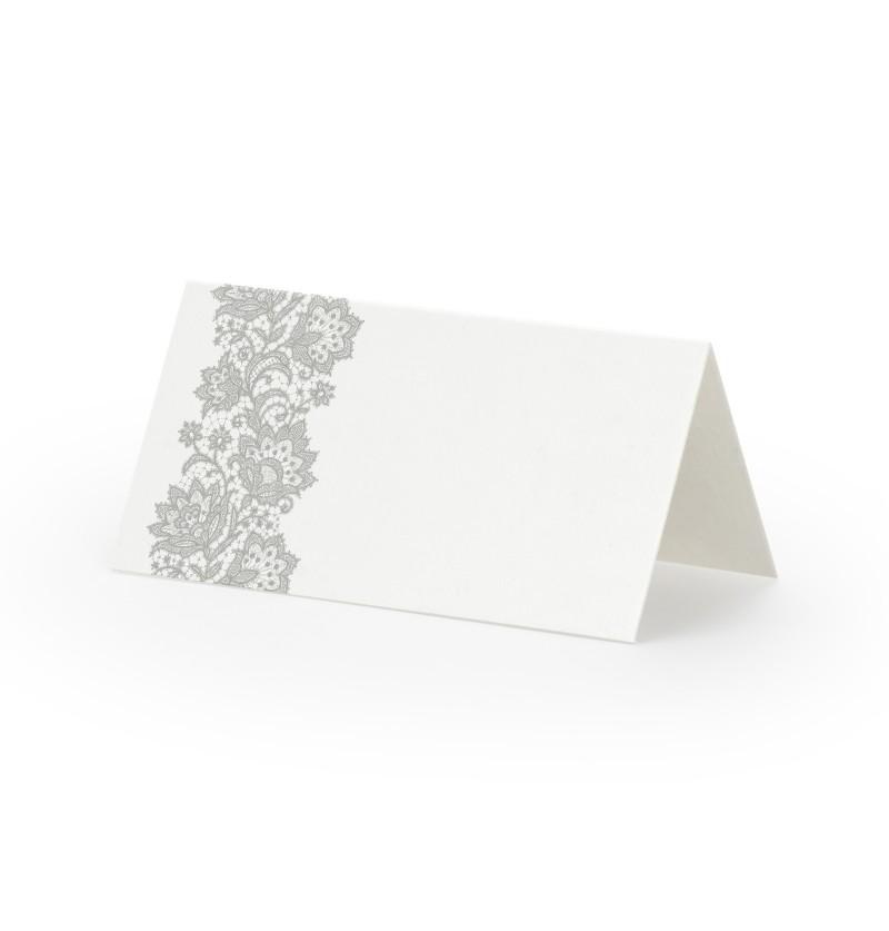 Set de 25 tarjetas para mesa blancas con flores grises de papel