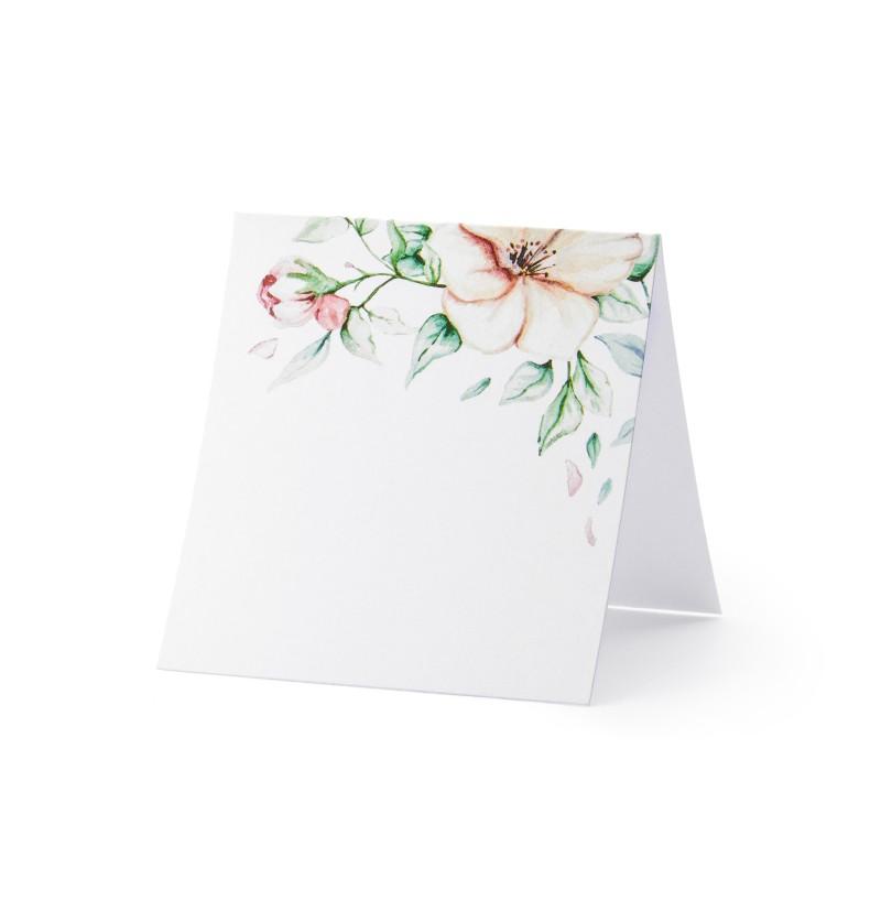Set de 25 tarjetas para mesa blancas con flores rosas de papel