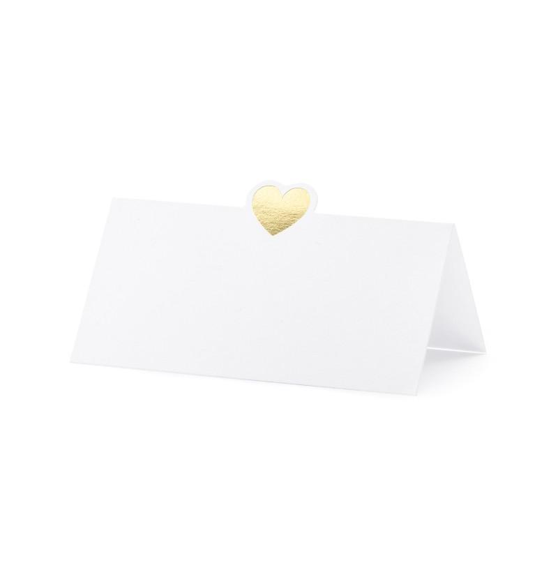 Set de 10 tarjetas para mesa blancas con corazón dorado de papel