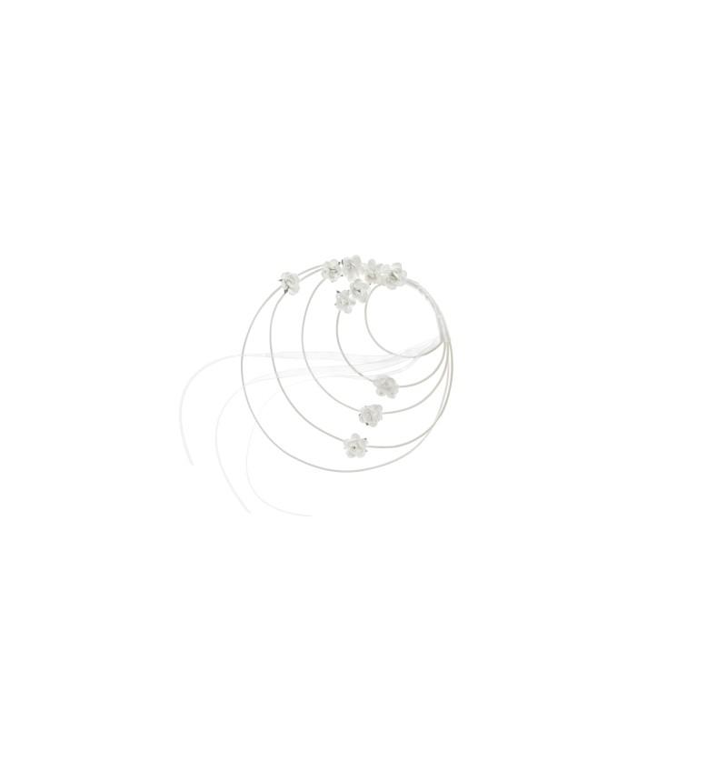 Set de 4 adornos circulares con rosas blancas de ratán para silla