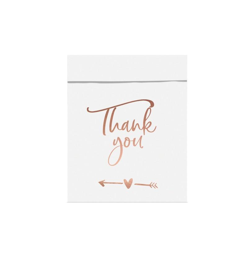 """Set de 6 bolsitas blancas con inscripción """"Thank You"""" en oro rosa de papel - Tropical Wedding"""