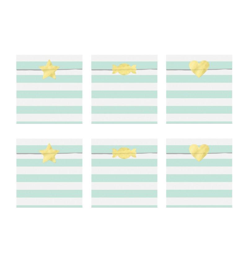 Set de 6 bolsitas de rayas verde menta pastel de papel - Yummy