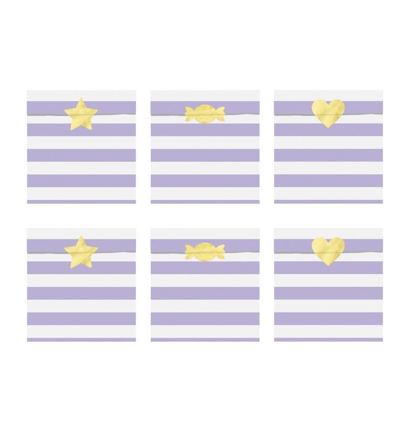 Set de 6 bolsitas de rayas morado pastel de papel - Yummy