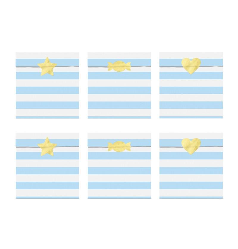 Set de 6 bolsitas de rayas azul pastel de papel  - Yummy