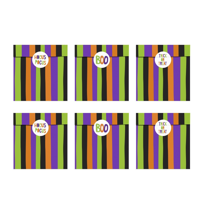 Set de 6 bolsitas de rayas multicolor de papel - Hocus Pocus Collection