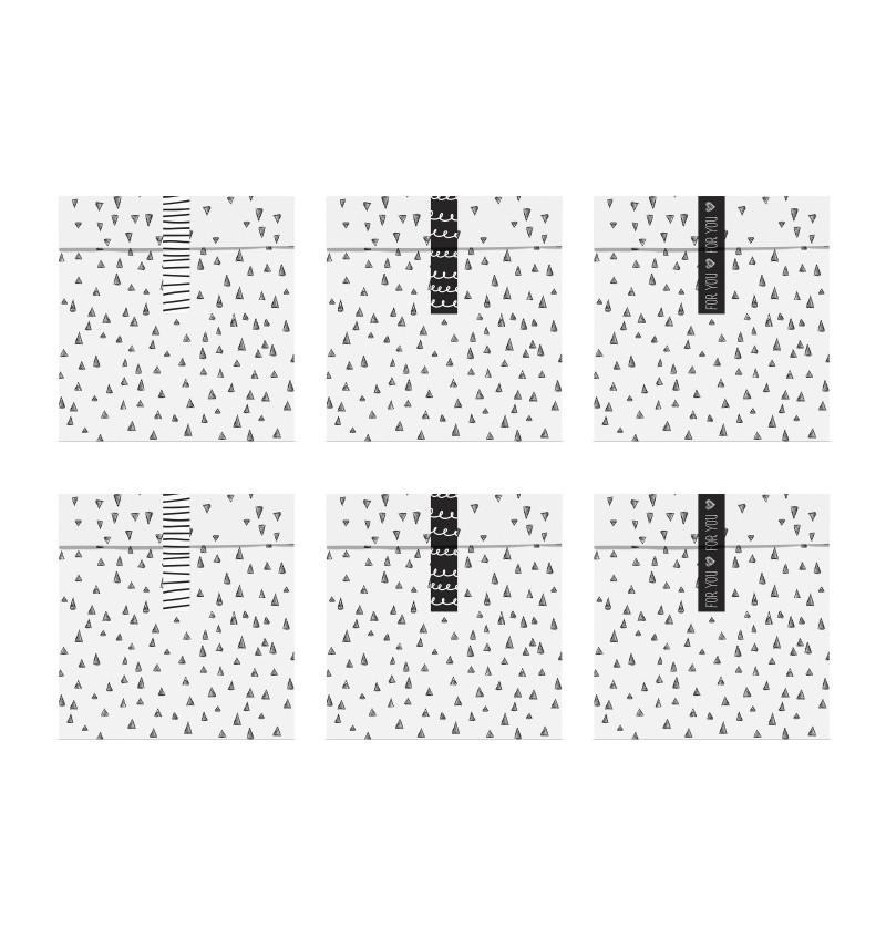 Set de 6 bolsitas blancas con estampado negro de papel - Black & White