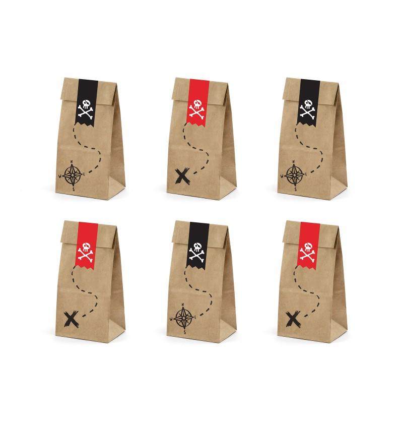 Set de 6 bolsitas piratas de papel Kraft con pegatinas piratas - Piratas Party