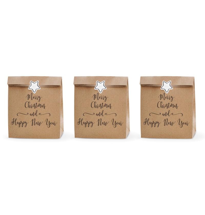 "Set de 3 bolsas de regalo de papel Kraft ""Merry Christmas and Happy New Year"" - Merry Xmas Collection"