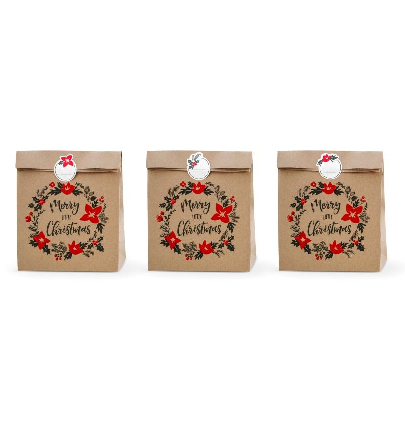 """Set de 3 bolsas de regalo de papel Kraft """"Merry Little Christmas"""" - Merry Xmas Collection"""