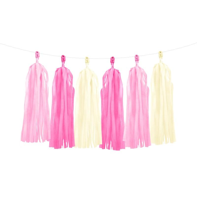 Guirnalda de flecos en tonos rosas