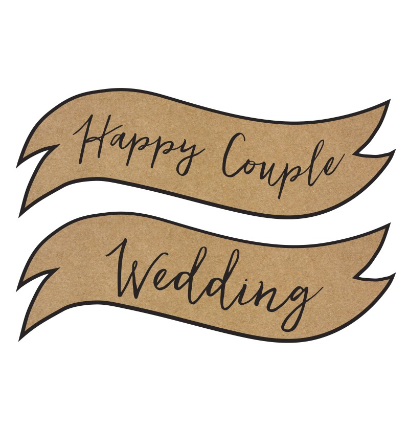 "Set de 2 carteles decorativos ""Happy Couple"", ""Wedding"" - Rustic Wedding"
