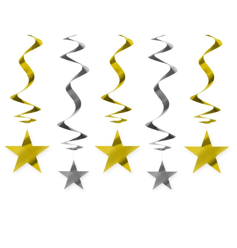 Set de 5 espirales colgantes dorados y plateados con estrellas - New Year & Carnival