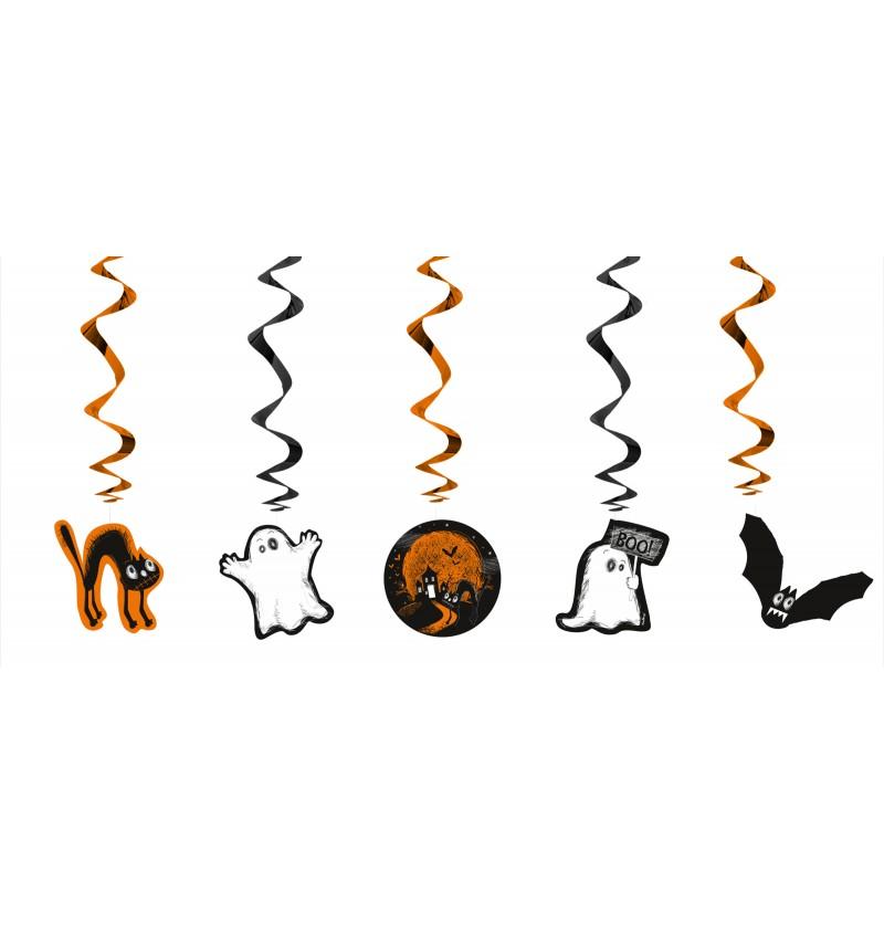 "Set de 5 espirales colgantes naranjas ""Boo"" - Halloween"