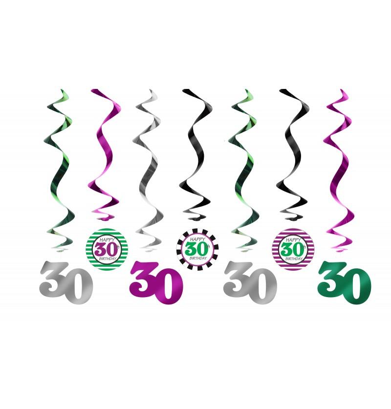 """Set de 7 espirales colgantes multicolor """"30"""" - Milestone birthday"""