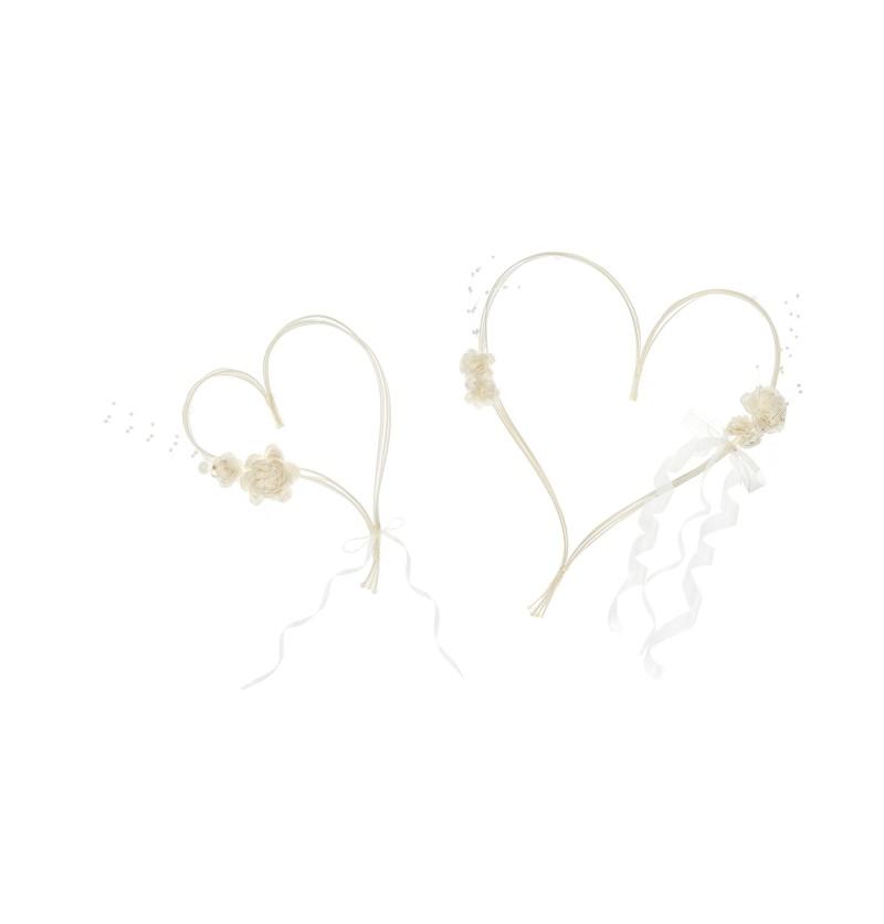 Set de 2 corazones beige para decoración de coche de novia