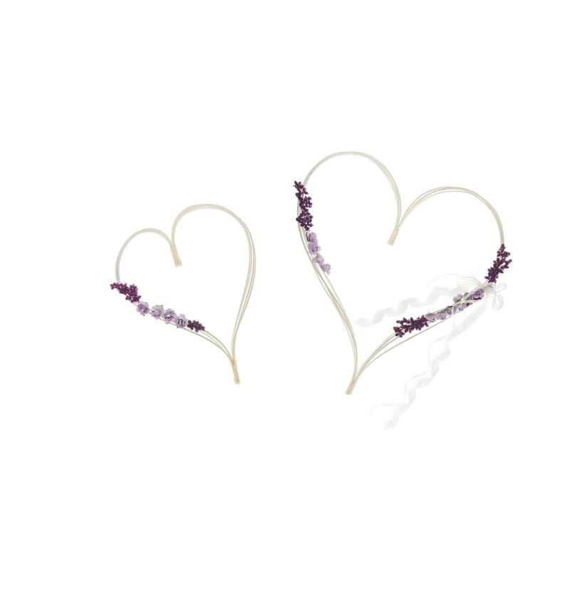 Set de 2 corazones blanco y morado para decoración de coche de novia