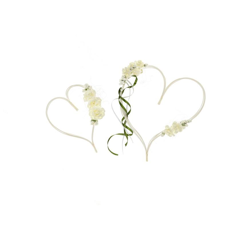 Set de 2 corazones beige y verdes para decoración de coche de novia
