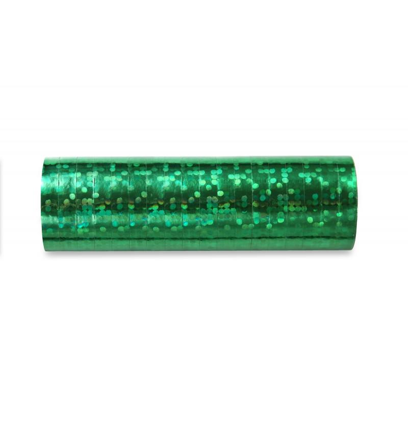 Set de 18 serpentinas holográficas verdes