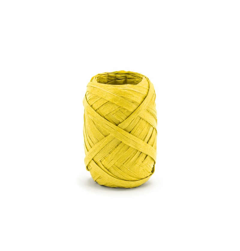 Cinta amarilla decorativa de 5 mm de rafia