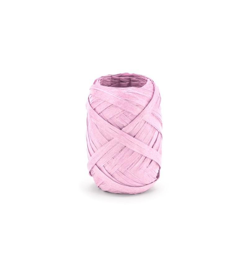 Cinta rosa pastel decorativa de 5 mm de rafia