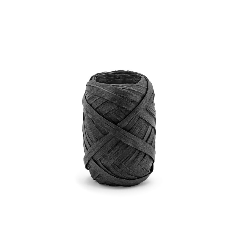 Cinta negra decorativa de 5 mm de rafia