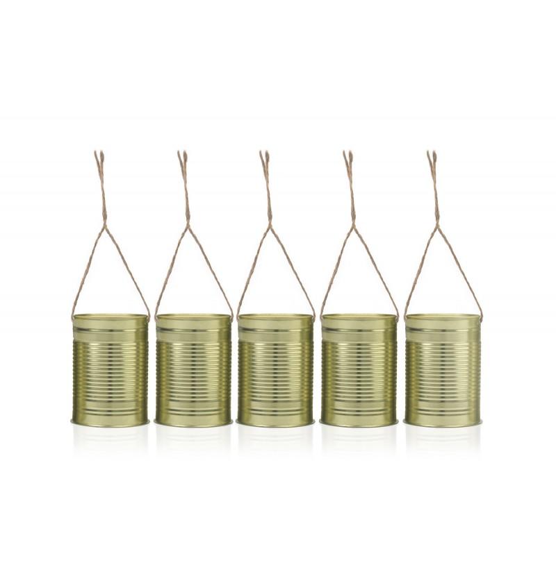 Set de 5 latas doradas para coche de novia - Rustic Wedding