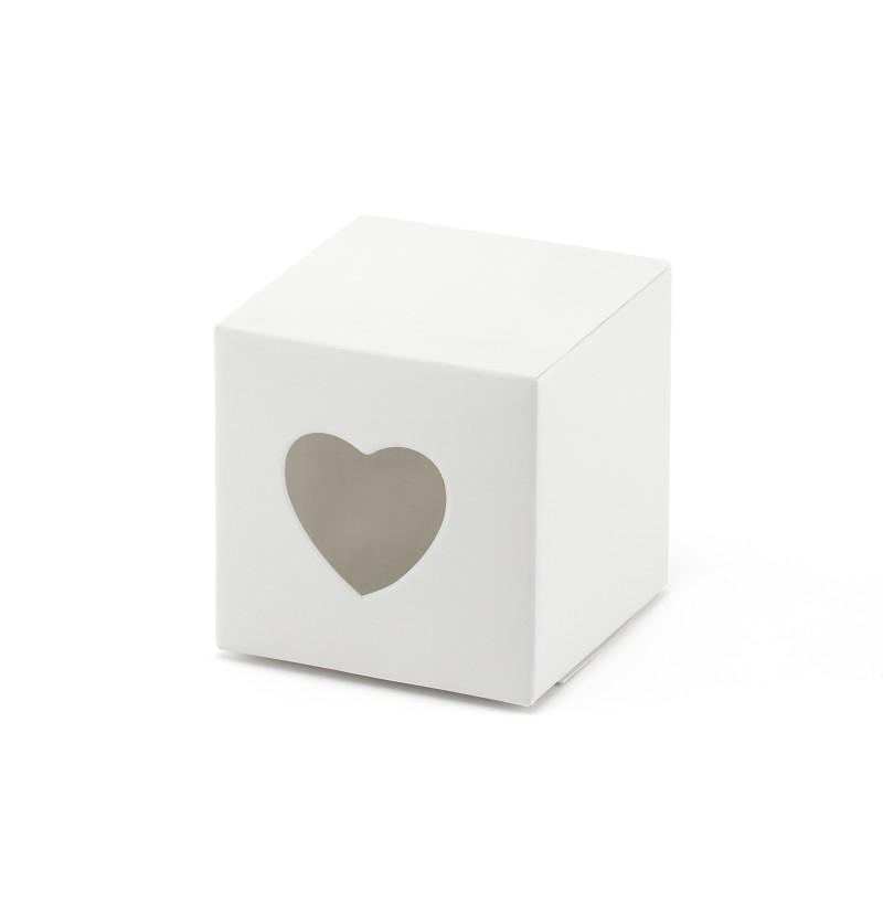 Set de 10 cajas de regalo blancas con troquelado de corazón