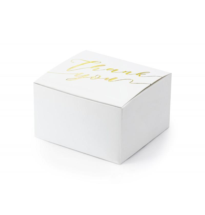 """Set de 10 cajas de regalo blancas con texto dorado """"Thank You"""" - White And Gold Wedding"""