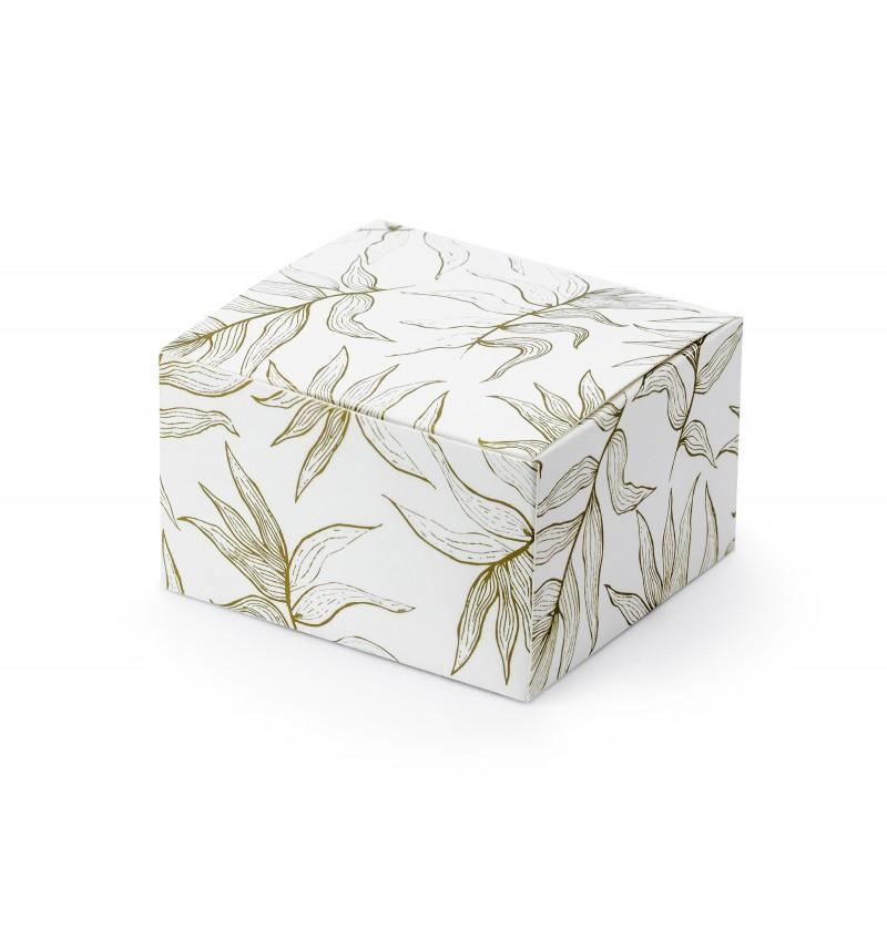 Set de 10 cajas de regalo blancas con hojas doradas
