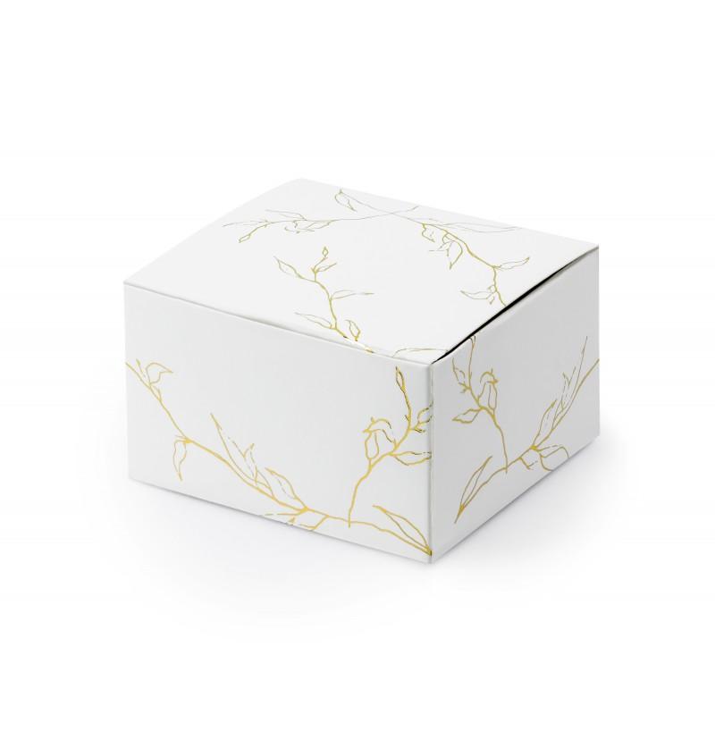Set de 10 cajas de regalo blancas con ramas doradas