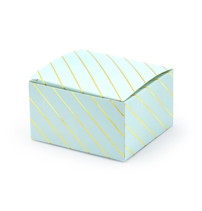 Set de 10 cajas de regalo azul con rayas doradas - Touch of Gold