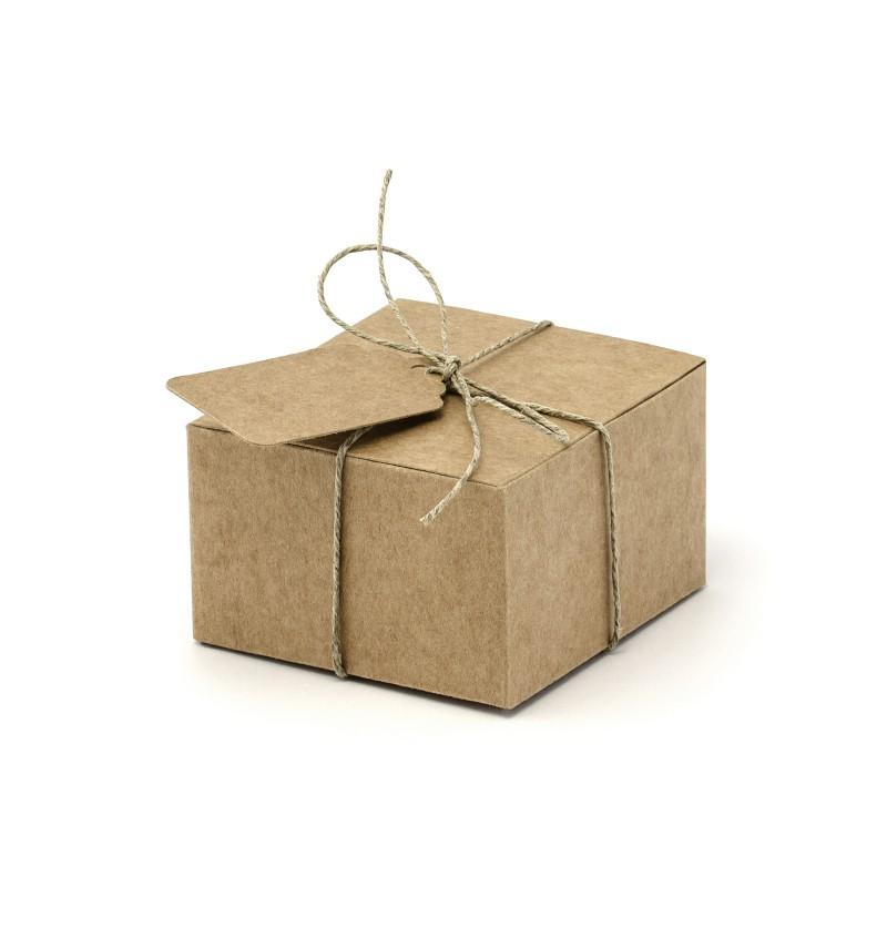 Set de 10 cajas de regalo cuadradas con etiqueta - Rustic Wedding