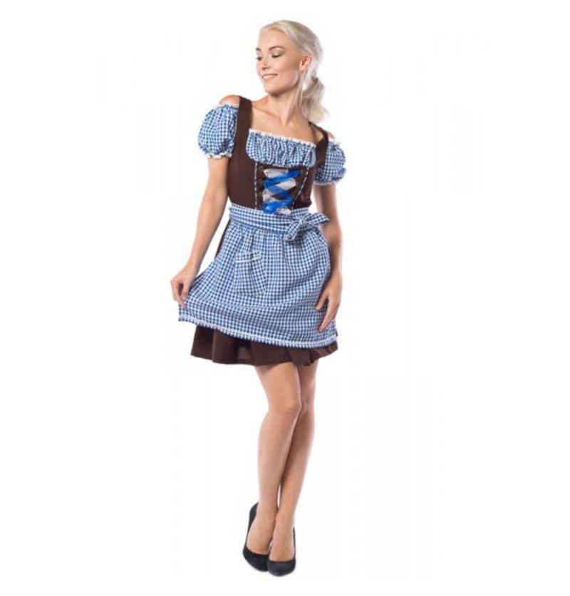 Dirndl Oktoberfest azul y marrón para mujer talla grande