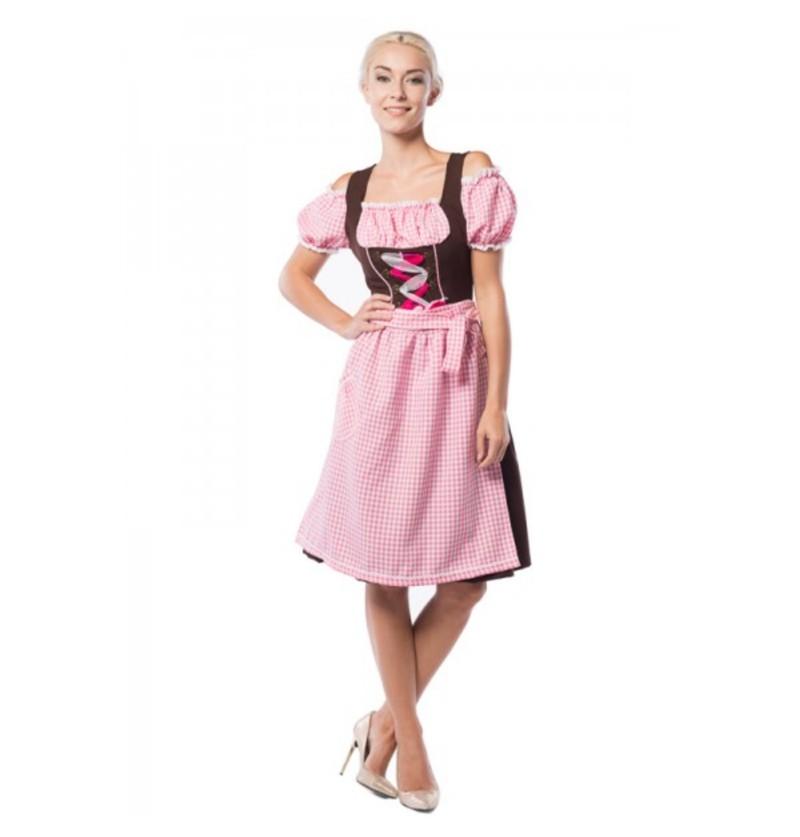 Dirndl Oktoberfest marrón y rosa para mujer talla grande