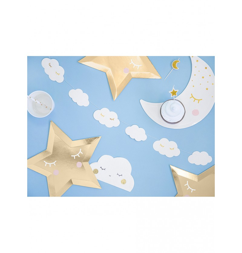 Guirnalda de nubes con pestañas - Little Star