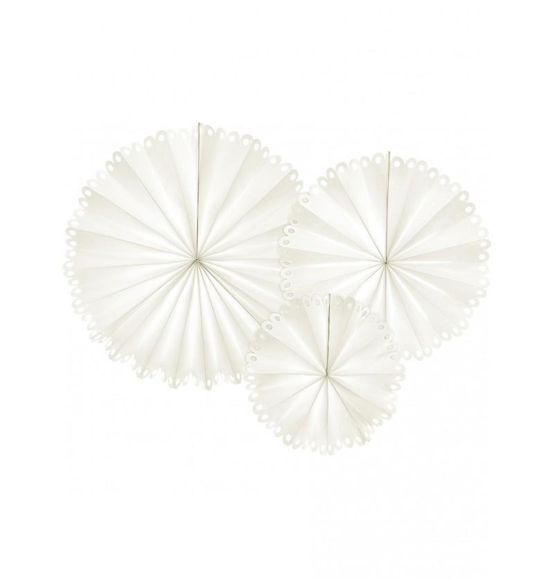 Abanicos de papel decorativos color blanco - 3 unidades