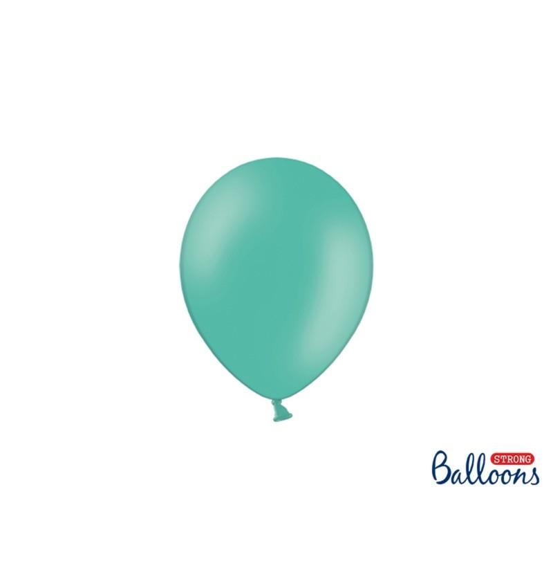Set de 100 globos extra resistentes 12 cm azul aguamarina