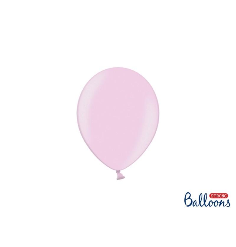 Set de 100 globos extra resistentes 12 cm rosa metalizados