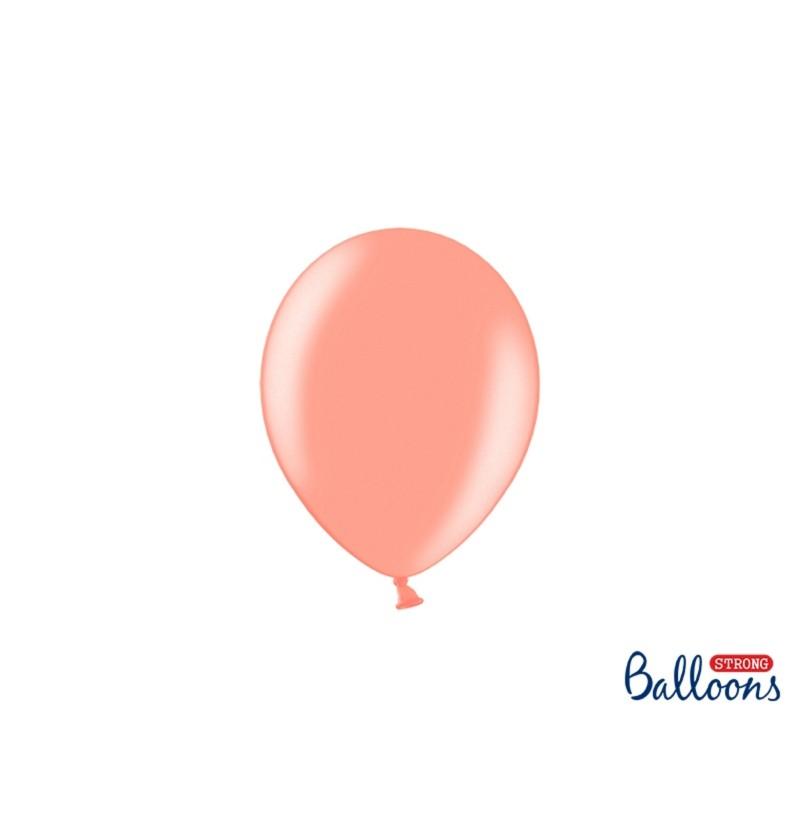 Set de 100 globos extra resistentes 12 cm rosa dorado