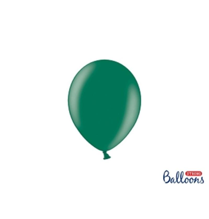 Set de 100 globos extra resistentes 12 cm verde botella metalizado