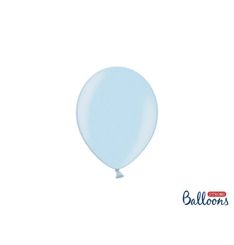 Set de 100 globos extra resistentes 12 cm azul pastel metalizado