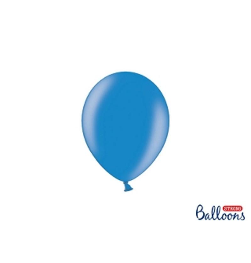 Set de 100 globos extra resistentes 12 cm azul oscuro metalizado