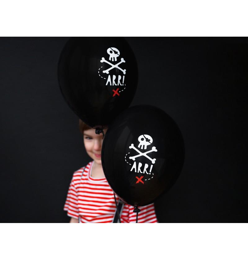 Set de 50 globos de látex con calavera pirata negro - Pirates Party