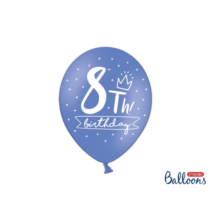 Set de 6 globos extra resistentes octavo cumpleaños