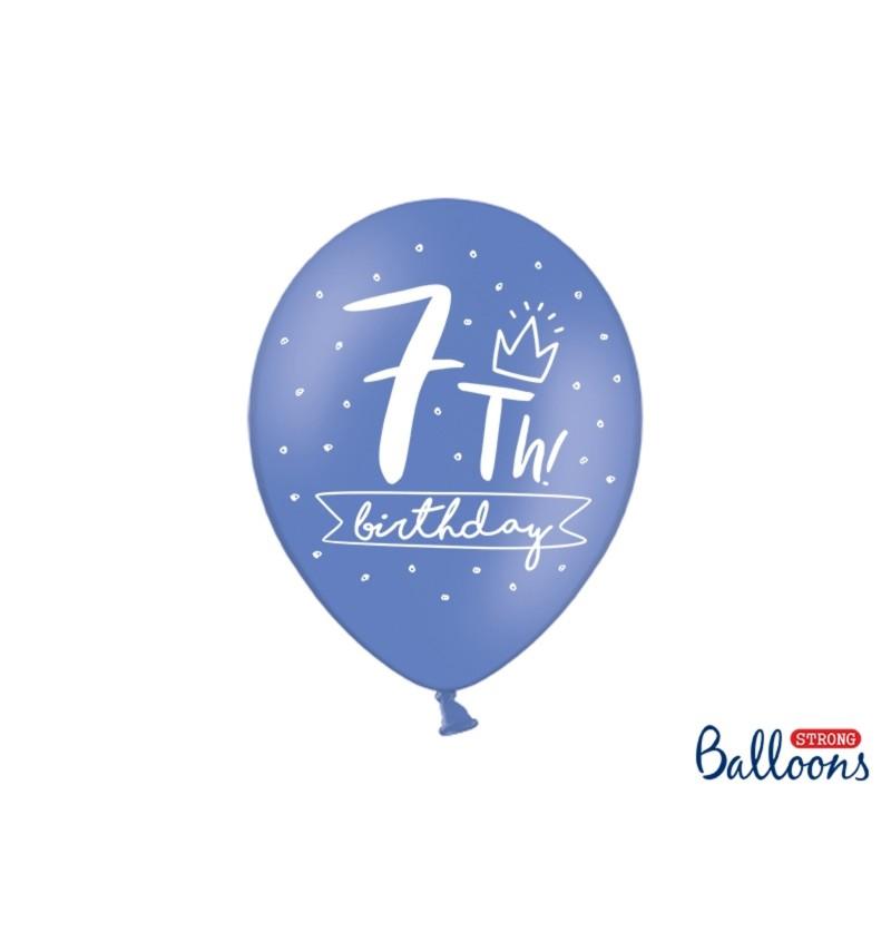 Set de 6 globos extra resistentes séptimo cumpleaños