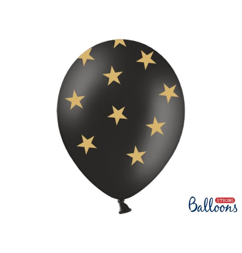 Set de 6 globos con estrellas doradas y negro
