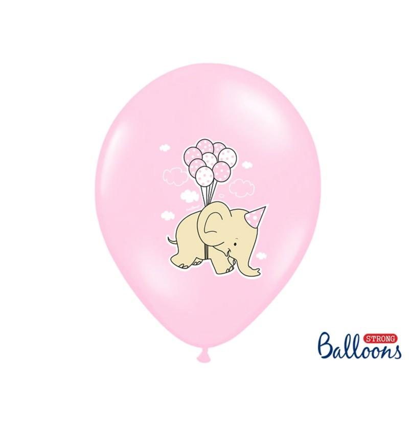 Set de 6 globos de látex con elefante rosa